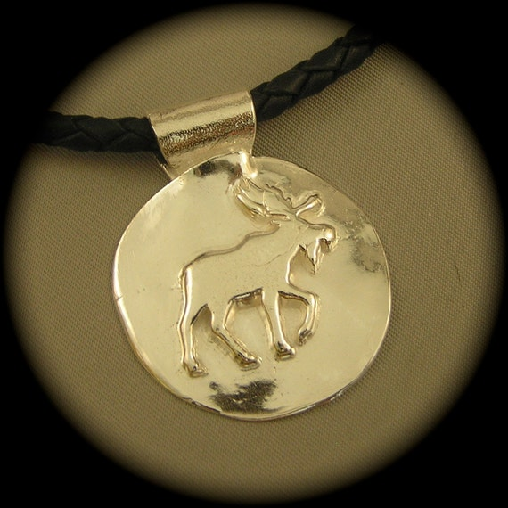Moose Pendant in Recycled Silver on Leather Cord - Father's Day