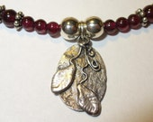 Fine Silver Pendant on Sterling and Garnet Bead Necklace