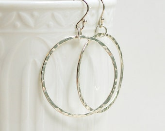 Sterling Silver Dangle Hoop Earrings - Hammered, Modern, Minimalist, Circle, Shiny
