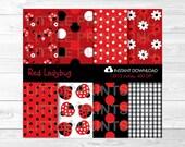 Cute Ladybug Digital Pape...