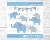 Blue Elephant Clipart PER...