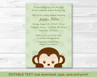 Monkey Baby Shower Invitation INSTANT DOWNLOAD Editable PDF
