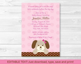 Cute Pink Puppy Baby Shower Invitation / Puppy Baby Shower Invite / Pink & Brown / Baby Girl Shower / INSTANT DOWNLOAD Editable PDF