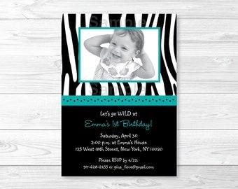 Zebra Print Birthday Invitation / Zebra Birthday Invite / Zebra Print Invite / Teal Blue & Black / Girl Birthday / PRINTABLE Any Age