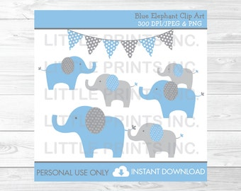 Blue Elephant Clipart PERSONAL USE Instant Download