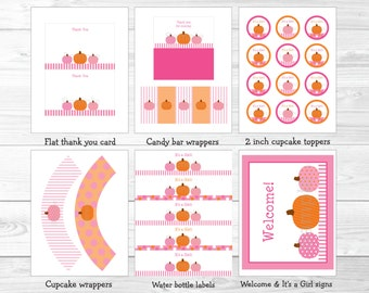 Pink Pumpkin Baby Shower Party Package INSTANT DOWNLOAD