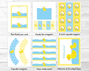 Rubber Duck Baby Shower Party Package INSTANT DOWNLOAD