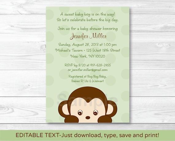 Mod Boy Monkey Jungle Safari Green Printable Baby Shower Party Package
