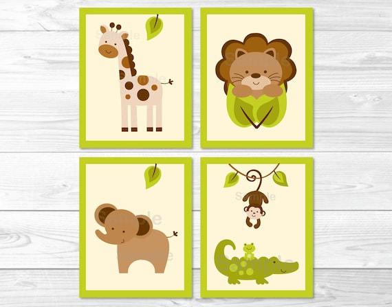 Baby Safari Lion Monkey Elephant Giraffe Printable Nursery Wall Art ...