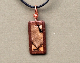 Black Walnut and Spalted Maple Wood Pendant.  J131075