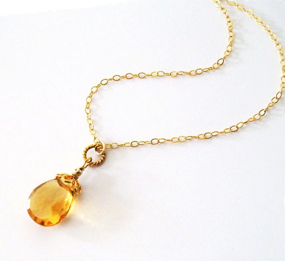 citrine gemstone pendant necklace large pear by