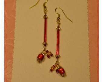 Vintage Red Bugle and Gold Crystal Earrings