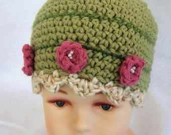 Baby Crochet Hat Pattern Flower And Bead Trim Instant Download Multi-Sized May Resell finished