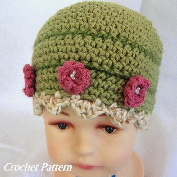 Baby Crochet Hat Pattern Flower And Bead Trim Instant Download