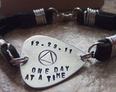 Personalized Guitar Pick Leather Bracelet - AA Symbol Bracelet- One Day at a Time Bracelet - Recovery Serenity Sobriety Milestone Date ODAAT