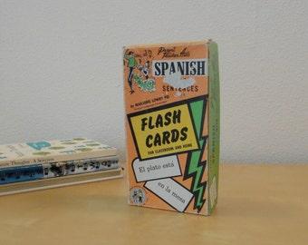 Vintage Boxed Set Spanish Phrase Sentence Flash Cards - 1959