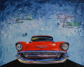 Red 1950's Chevy Bel Air Original Painting