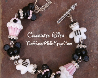 Celebrate Happy Birthday Lampwork Disney Inspired Mickey Minnie Mouse Style DeSIGNeR Bracelet Treasured Glass Bracelet