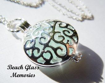 Seaglass Pendant Locket Sea Glass Disc Locket Beach Glass Jewelry