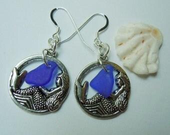 Blue Sea Glass Mermaid Earrings - Modern Jewelry Beach Glass Earrings Dangle Earrings