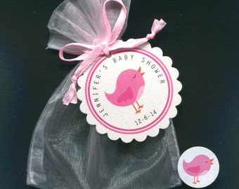 20 Personalized Baby Girl Baby Shower Favor Bags, Favor Tags, Candy Stickers, With Pink Organza Bags, Pink Bird