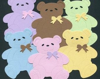 Baby Shower Teddy Bear Die Cuts, set of 12 teddy bears in assorted colors