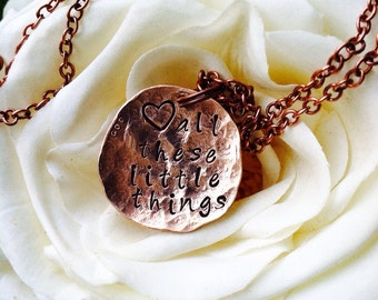 One Unique Necklace ~ Hand Hammered Penny ~ Customize with your WORDs or ideas ~ metal stamped  ~ Don't we all need a little direction ?