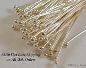100 Silver Ball Headpins 22-24 Gauge 2 inch Brass Ball Pin 1.5 Ball - 100 pc - F4028BHP-S2100 - Select Qty