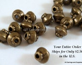 25 Antique Bronze Spacer Beads Saucer 4x4mm Plated Alloy LF/NF/CF - 25 pc - M7044-AB25