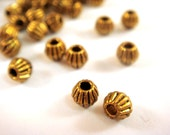 50 Antique Gold Spacer Beads Ribbed Corrugated Bicone LF/CF 4.5x4mm - 50 pc - M7061-AG50