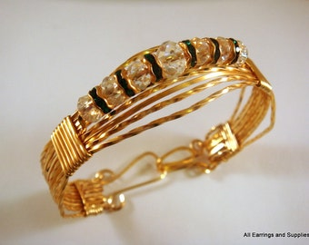 Wire Wrapped Bracelet Gold Plated Swarovski Crystals Emerald - Made to Order - Choose size and Spacer Color