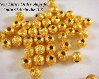 50 Gold Stardust Beads 4mm Round Brass - 50 pc - M7055-G50