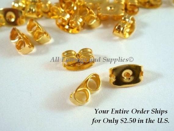 50 Gold Earring Back Butterfly Earnut Gold Plated 6x4mm - 50 pc - F4016EN-G50