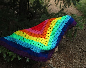 """Children""""s Crocheted Rainbow Shawl for Play and Dress Up"""