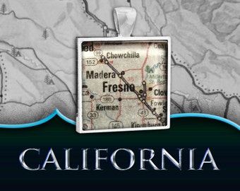 Fresno, CA Map Pendant