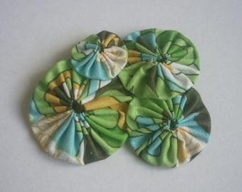 Yo-yo Brooch - Cotton Fabric, Handmade, Yo-yo, Yo-yo Flowers, Yo Yo, Yo Yo Flowers, Kawaii