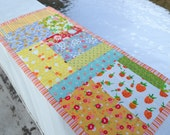 Patchwork Table Runner Floral Table Mat Dresser Mat Table Topper Vintage Style Strawberry Mat Summer Cottage Decor Cottage Quilt