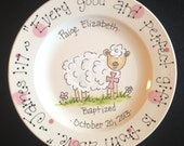 Hand Painted Personalized Baby Plate with Little Lamb- Great Baptism or Birth Gift