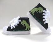 Boys Dinosaur Shoes, Kids Hand Painted T Rex on Black Hi Top Sneakers for Baby or Toddler