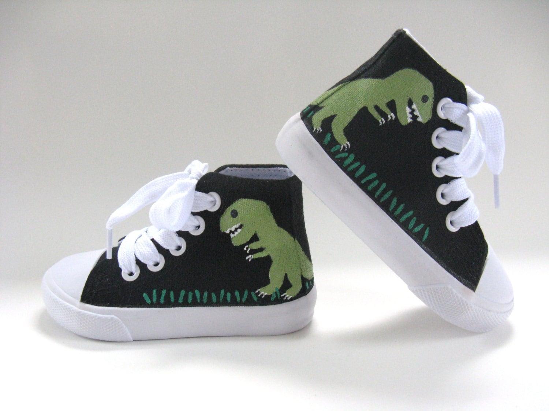 dinosaur shoes t rex on black hi top sneakers dinosaur