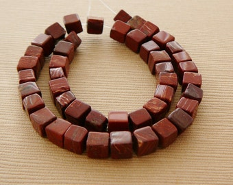Gemstone Beads, Jasper Cubes, 4mm Rust Brown half strand