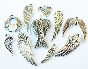 10 Angel Wing Theme Charms