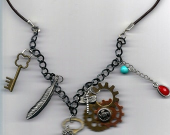"New - 20"" Steam Punk Necklace With Double-Sided Clock Pendant"