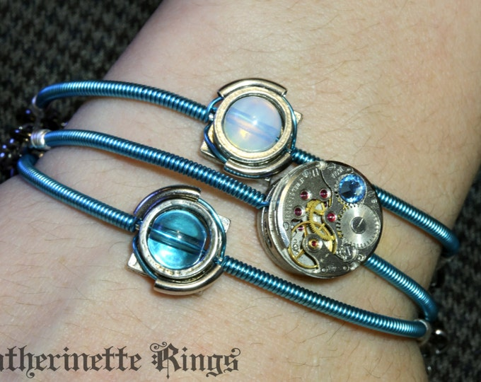 Cyber-steampunk - 3 Bracelets - Watch movement with moonstone and aquamarine glass bead