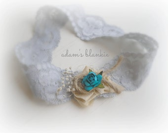 Odele - Silver Gray Turquoise Taupe Headband - Lace Flowers Silk Twine - Newborn Infant Baby Girl Toddler Adult