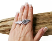 Feather Ring Silver oxidized Metal Adjustable