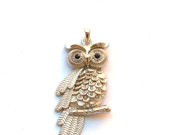 Silver Metal 68mm x 32mm OWL Pendant with Crystals, 1021-09