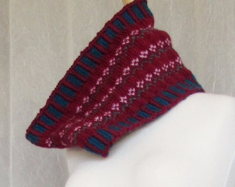 Cowl, knit, Fair Isle, Accessory, Scarf, neckwarmer,F, scarves
