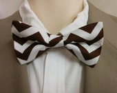 BROWN CHEVRON Bowtie and Pocket square set zigzag chocolate brown and white cotton Toddler, boys, men, big and tall Groom, ring bearer usher