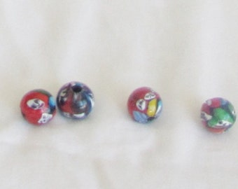 Beads, 4 pieces, ceramic, hand painted, white, multicolor, C, beads